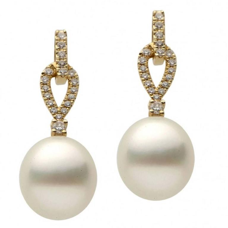 Yellow Gold Pearl And Diamond Dangle Drop Earring At 1stdibs