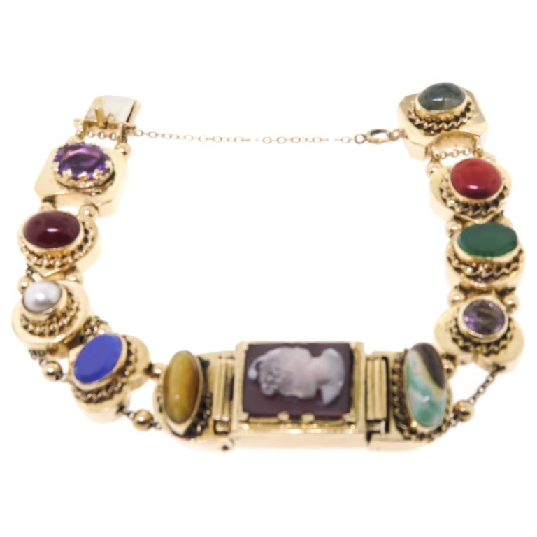 14k Vintage Add A Link Charm Watch Bracelet For