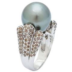 Tahitian Pearl Champagne Diamond Gold Ring