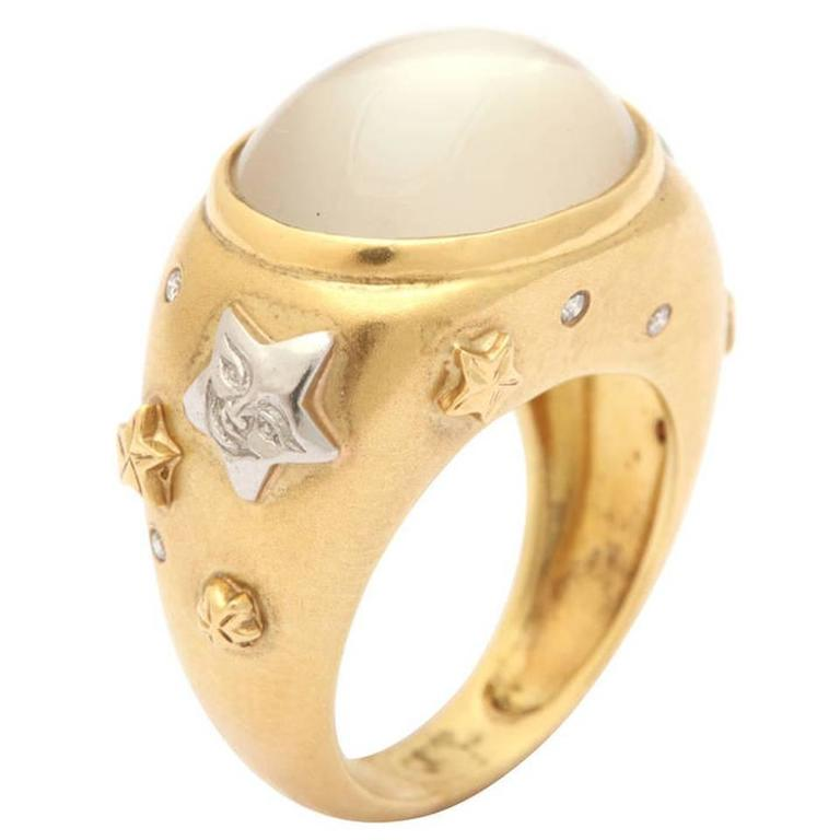 Celestial Moonstone Diamond Gold Platinum Ring