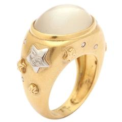 Celestial Moonstone Diamond Gold Platinum Ring