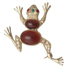 1950s Emerald, Ruby, Garnet and Diamond, Yellow Gold 'Frog' Brooch