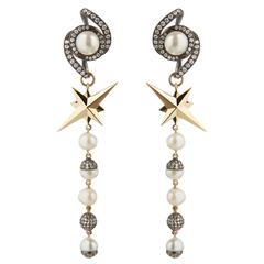 TPL Gold Pearl Diamond Blackened-Silver Star Earrings