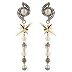 TPL Gold Pearl Diamond Blackened-Silver Star Earrings