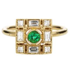 Sabine Getty Harlequin Emerald Diamond Gold Ring