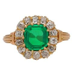 Antique Victorian Colombian emerald diamond coronet cluster ring