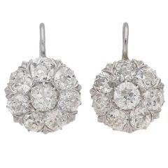 French 1930s Diamond coronet cluster drop earrings