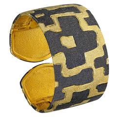 Silver Gold Platinum Textured Cuff Bracelet by Alex Soldier. Handmade in NYC.