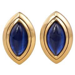 1990s Hemmerle Cabochon Sapphire Gold Earrings
