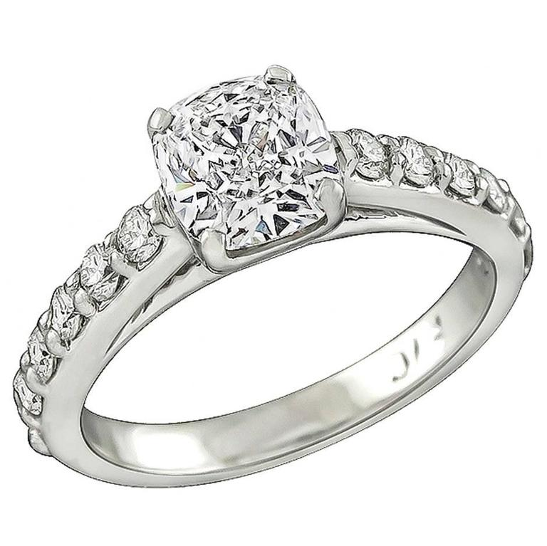 1.06 Carat Cushion Cut Diamond Engagement Ring