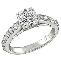 1.06 Carat Cushion Cut Diamond Engagement Ring