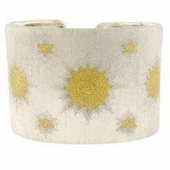 Buccellati Sterling Silver Gold Wide Cuff Bracelet