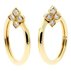 Cartier Flower Diamond Gold Earrings