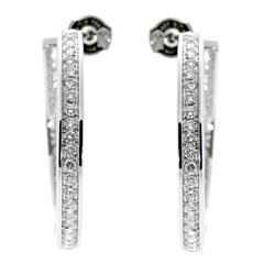 Cartier Hoop Diamond White Gold Earrings