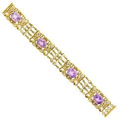 Antique American Art Nouveau Amethyst and Gold Bracelet