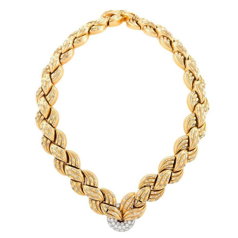 Van Cleef & Arpels 1940's Diamond Gold Necklace and Bracelets 1