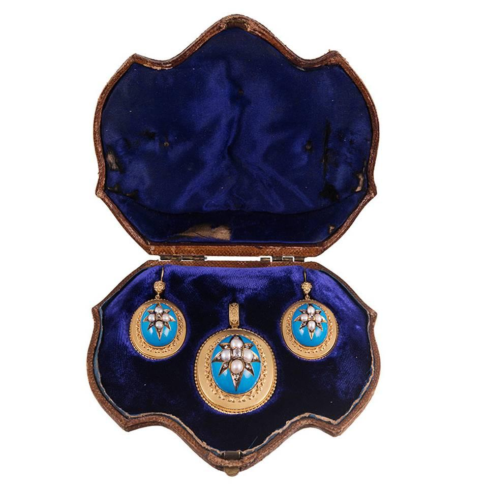 Victorian Turquoise Enamel, Pearl and Diamond Locket Pendant and Earrings Suite