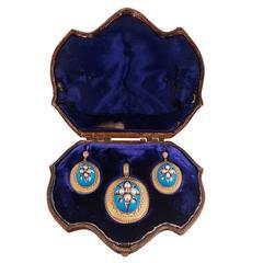 Victorian Turquoise Enamel, Pearl & Diamond Locket Pendant & Earrings Suite