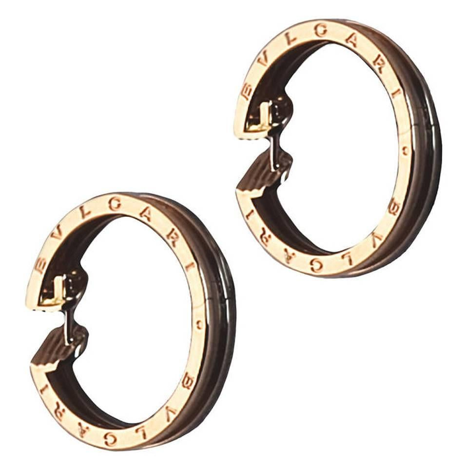 Modern Bulgari Rose Gold Hoop Earrings