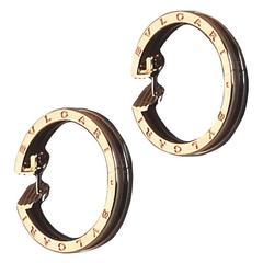 Modern Bulgari Rose Gold Hoop Earrings