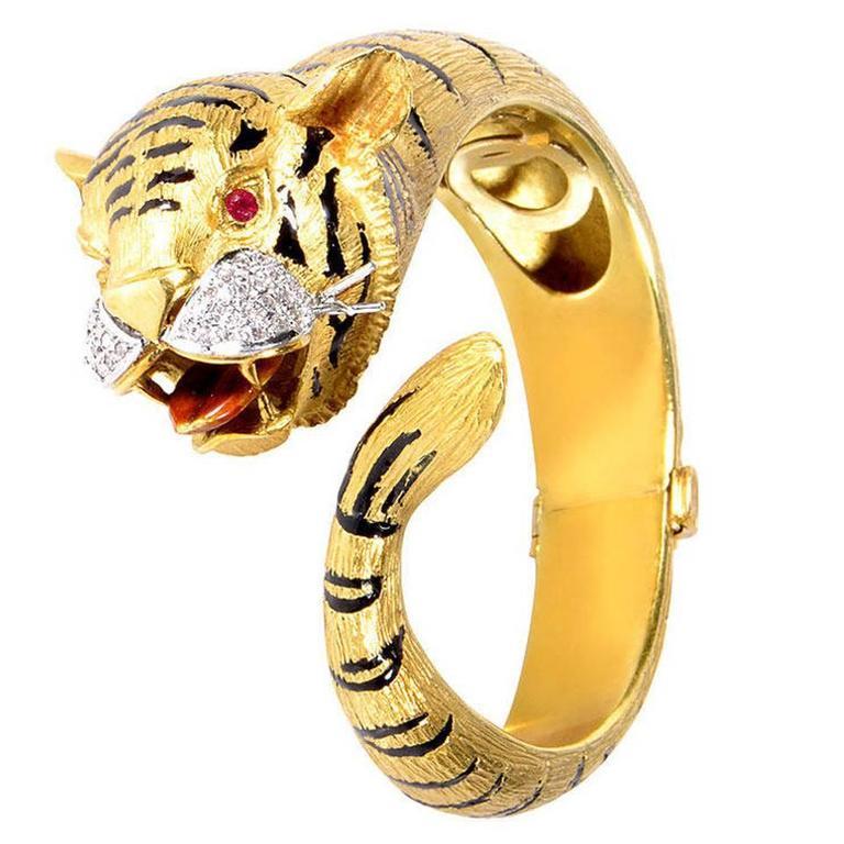 Ruby Diamond Two Color Gold Tiger Bangle Bracelet