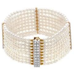 Akoya Pearl Bracelet 1.15 Carat Diamonds