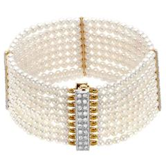 Akoya Pearl Diamonds Gold Nine Row Bracelet