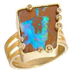 One of a Kind Barbara Heinrich Boulder Opal Champagne Diamond Triple Band Ring