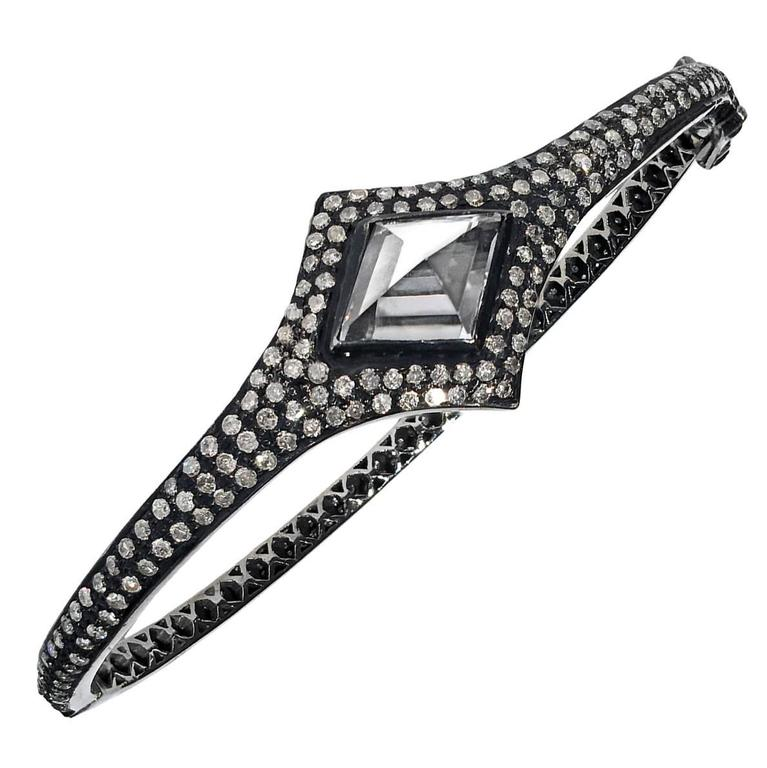 Lauren Harper Rock Crystal Prism Diamond Eternity Hinged Cuff Bracelet