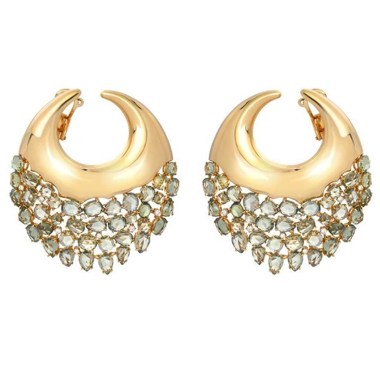 Etho Maria Prasiolite Diamond Gold Earrings For Sale At