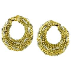 1980s Textured Gold Hoops