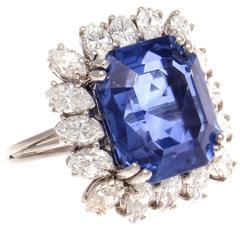 11.76 Carat AGL Ceylon Sapphire Diamond Platinum Ring