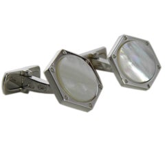 Berca Exagonal Sterling Silver and Natural Mother of pearl cufflinks