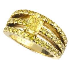 Graff Fancy Yellow Diamond Ring 0.92 Carats GIA Certified