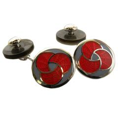 Enamel and Shell Sterling Silver Cufflinks
