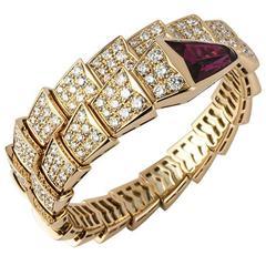 Bulgari Diamond Rubellite Gold Serpenti Bracelet