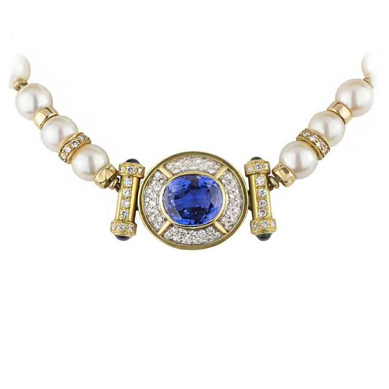 Blue Sapphire Diamond Pearl Gold Choker