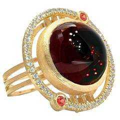Shimell and Madden One of a Kind Garnet Orange Sapphire Diamond Handmade Ring