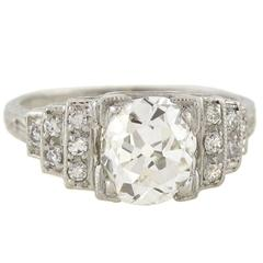 Art Deco 2.16 carat Diamond Engagement Platinum Ring