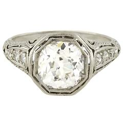 Art Deco 2.40carat Diamond Engagement Platinum Ring