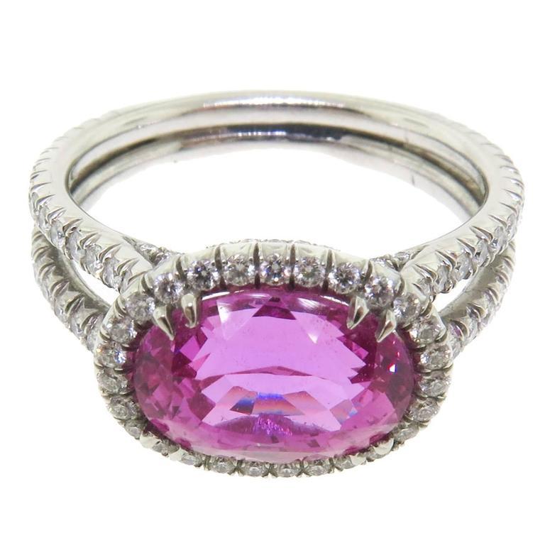 Manfredi Jewels 3.55 Carats Pink Sapphire Diamonds Platinum Ring