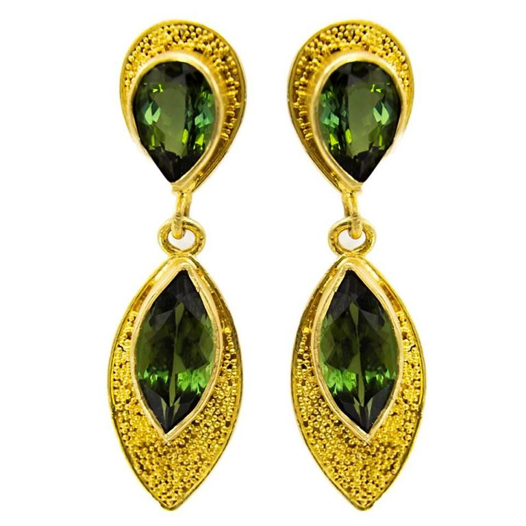 Pear and Marquise Deep Green Tourmaline Post Earrings For Sale