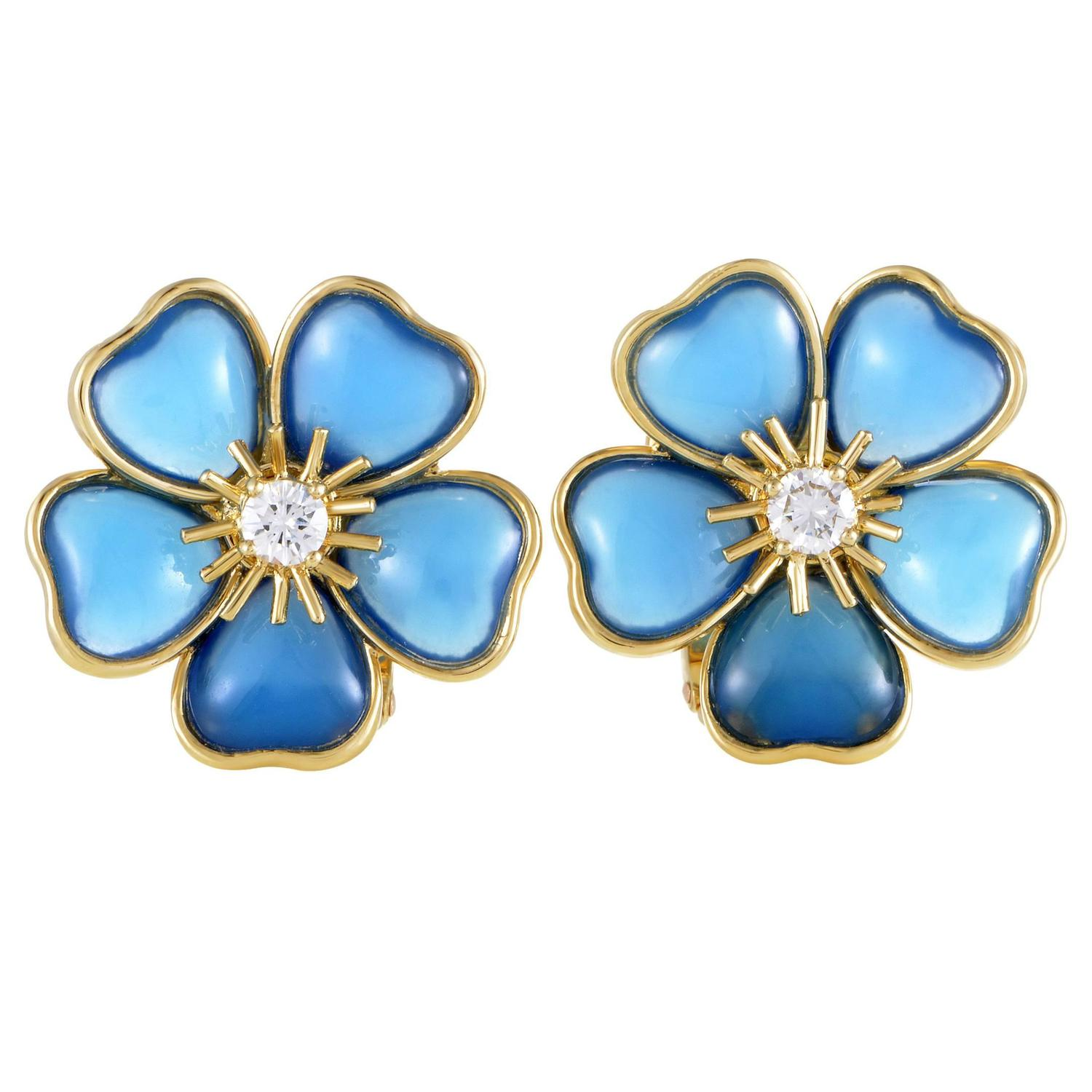 Van Cleef And Arpels Mimi Nerval Diamond Blue Stone Yellow Gold Clipon  Earrings At 1stdibs