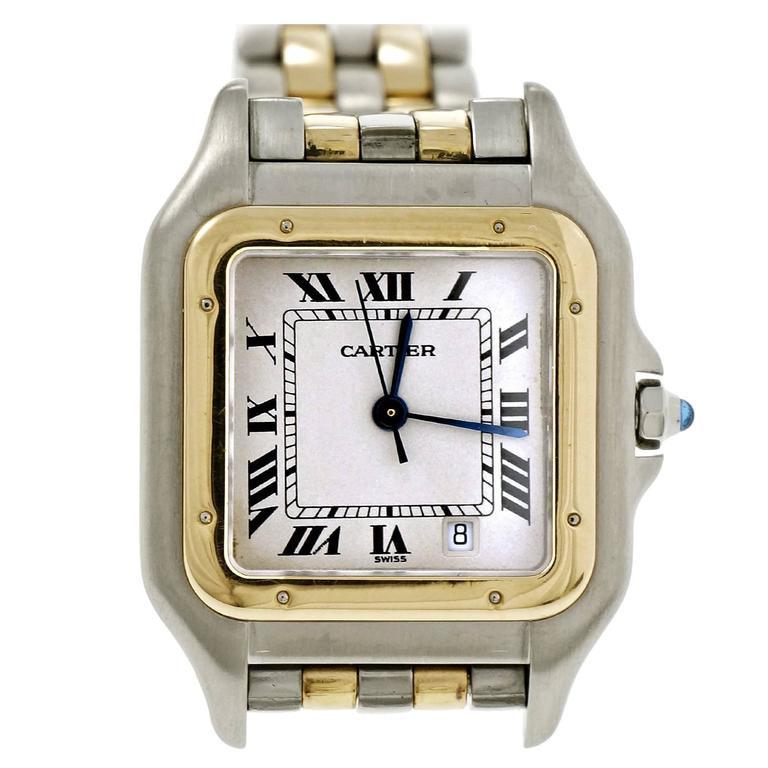 a434e3855640 Cartier Ladies Gold Steel Panthere Medium Quartz Wristwatch at 1stdibs