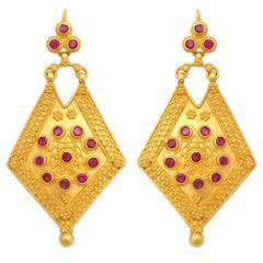 Ruby Gold Shield Earrings