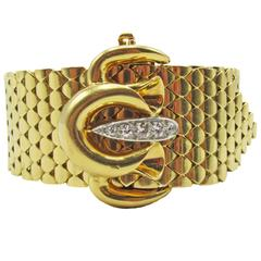 Retro French Diamond Gold Bracelet