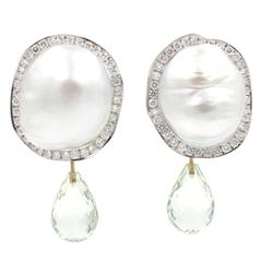 South Sea Baroque Pearl Diamond Gold Earrings