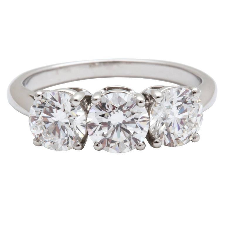Tiffany and Co Three Stone Diamond Platinum Ring 2 41 carats at 1stdibs