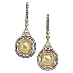 Yellow Rough Diamond Dangle Drop Earring
