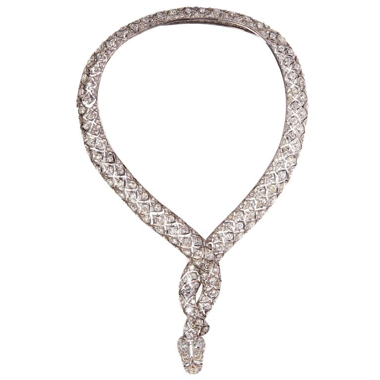 Impressive Retro Diamond Serpent Necklace 1